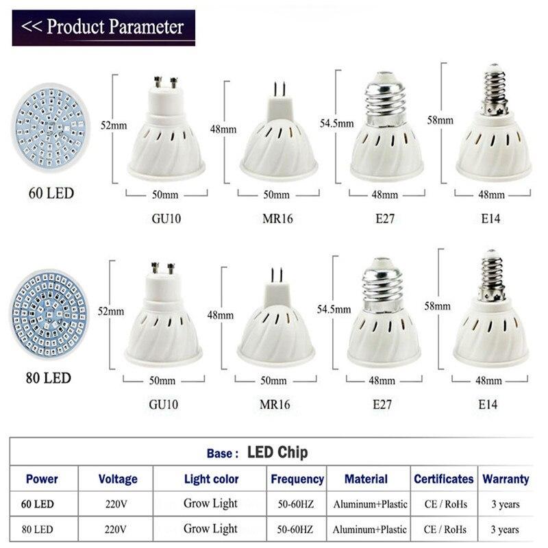 1 Pc Wachsen Led Licht Mr16/e14/gu10/e27 Wachsen Lampe Lampen Ac220v 60 Leds/80 Leds Lampe Plante Led Wachsen Lampe