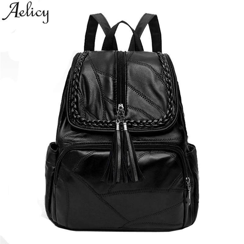 Aelicy Women Multifunction Backpack Leather Tassel Shoulder Bag Backbag Female Zipper Large Capacity School Bag Girl Travel Bag