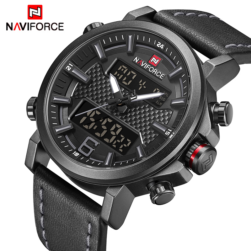 NAVIFORCE Mens Sports Watches Men Quartz LED Digital Clock Top Brand Luxury Male Fashion Leather Waterproof Military Wrist Watch q