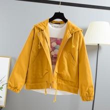 Harajuku Large Size Women Hooded Jacket 2020 Spring Autumn Loose Zipper Pockets