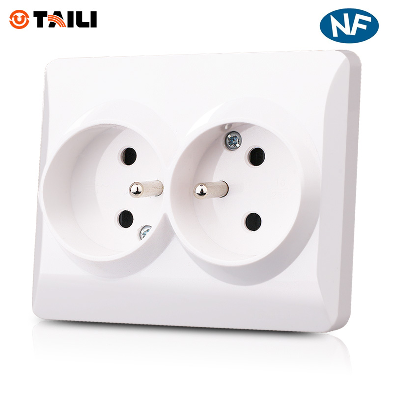 EU Standard Double French Socket Wall Socket Wall outlet Plug with earth contact AC 110~250V 16A Wall Power Socket TAILI #TL0638EU Standard Double French Socket Wall Socket Wall outlet Plug with earth contact AC 110~250V 16A Wall Power Socket TAILI #TL0638