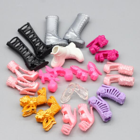 10pairs/lot Mix Style Mix Color Fashion Heels Sandals Doll Shoes For Barbie Dolls Dolls Accessories Gift For Girl Toy