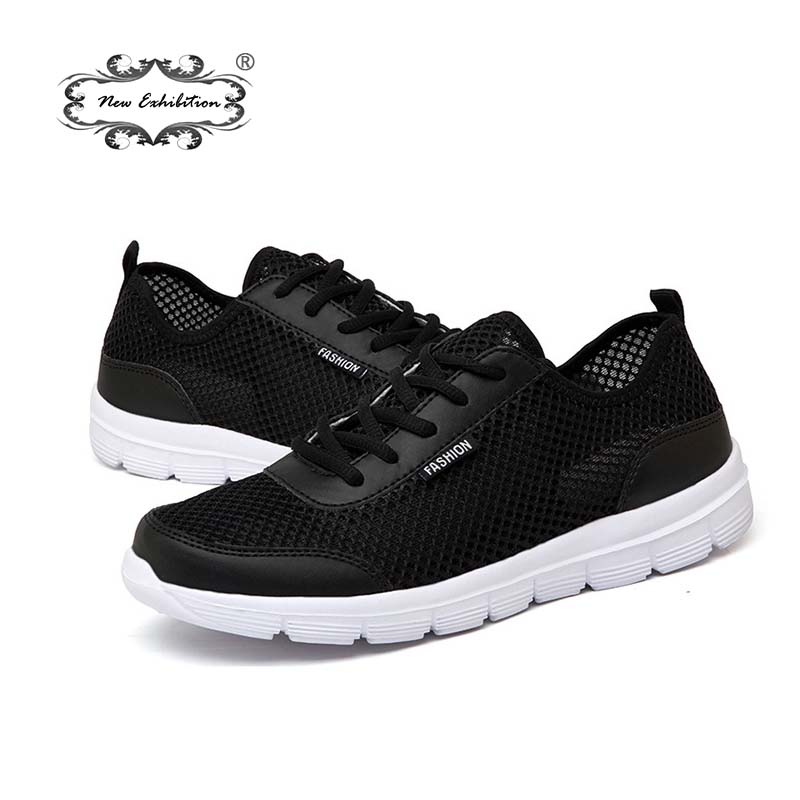 New exhibition Casual Men Shoes 2018 Summer Breathable Mesh Flats Fashion Brand Sneakers Lace up Unisex Walking shoes Size 35-48 dekabr brand 2018 summer shoes new arrivals lace up casual shoes mesh breathable light weight male soft men shoes big size 38 45