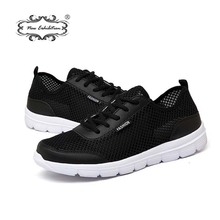 Купить с кэшбэком New exhibition Casual Men Shoes 2018 Summer Breathable Mesh Flats Fashion Brand Sneakers Lace up Unisex Walking shoes Size 35-48