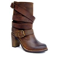 Новое поступление Ретро Стильные Для женщин сапоги полиуретанадо середины лодыжки; женские ботинки на высоком каблуке; полусапожки с ремеш