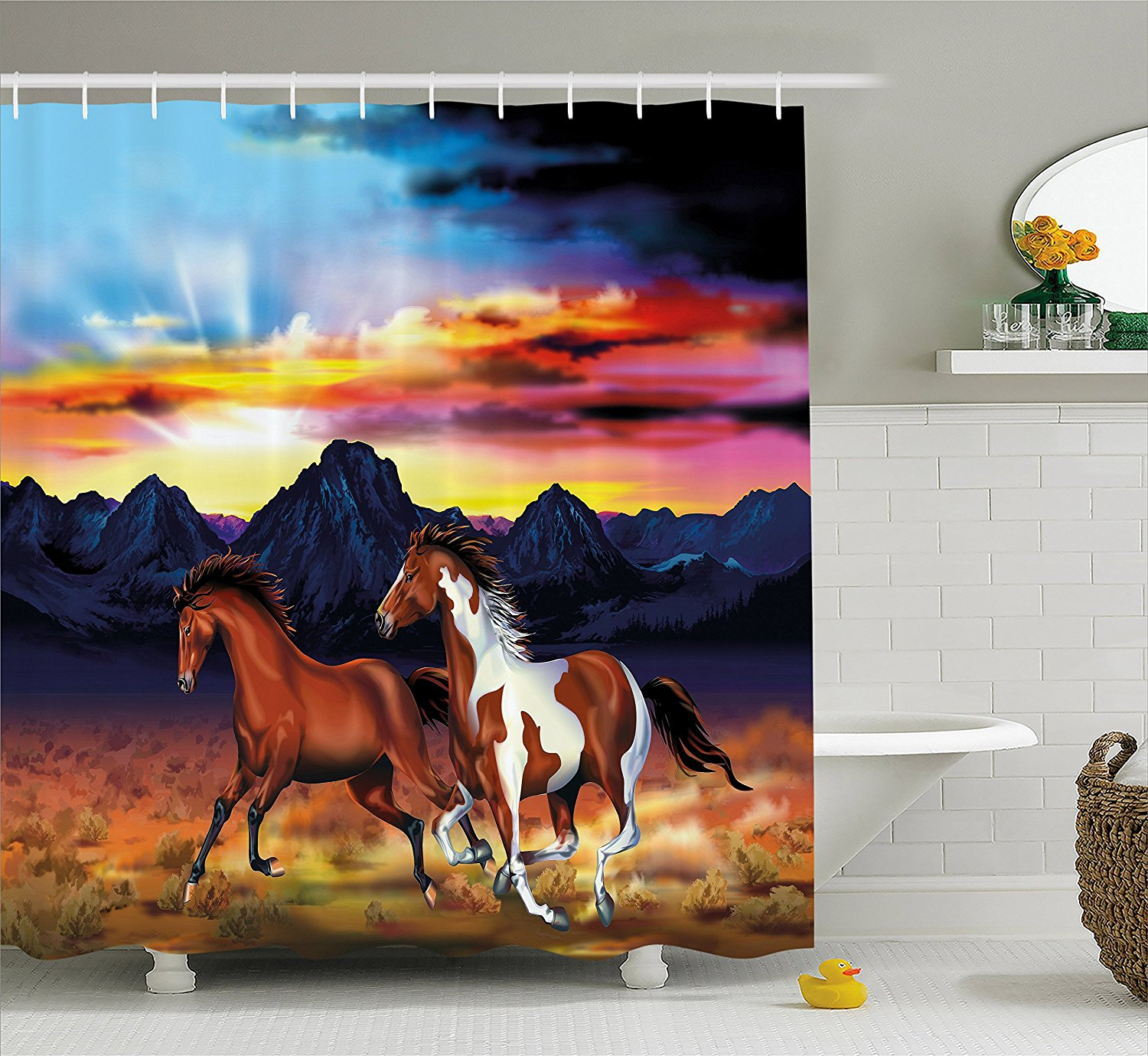Western Shower Curtain Running Wild Horses at Sunset Artistic Rustic Landscape Colorful Sky Illustration Decor Set with Hooks