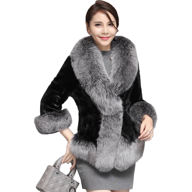 (TopFurMall) luxus Echtes Stück Nerz Pelz Jacke Mantel Fuchs Pelz Kragen Winter Frauen Pelz Kurze Oberbekleidung Mäntel 3XL 4XL 5XL LF4118