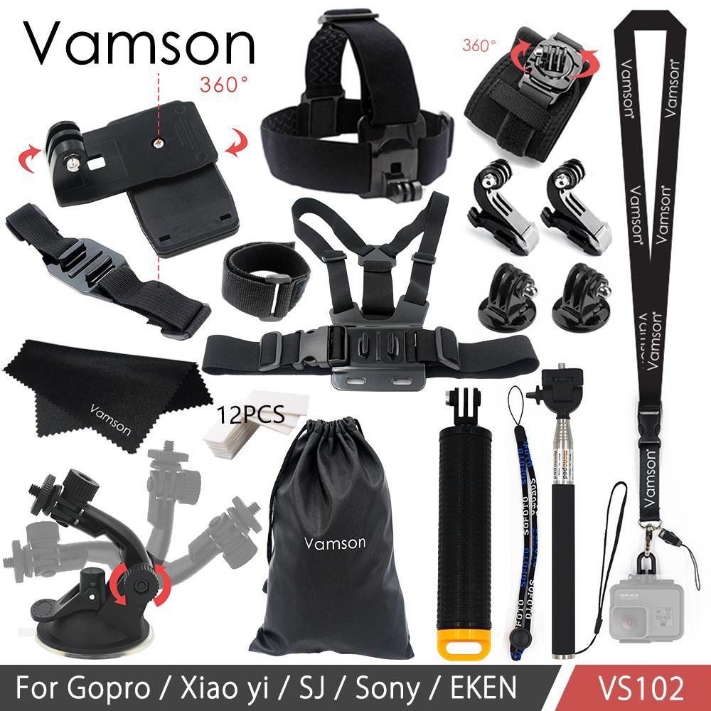 Vamson for Xiaomi yi 4k Accessories Kit Tripod Mount Adapter Monopod for Gopro Hero 6 5 4 for SJCAM for EKEN H9r Camera VS102 aluminium handheld monopod with tripod mount adapter for xiaomi gopro