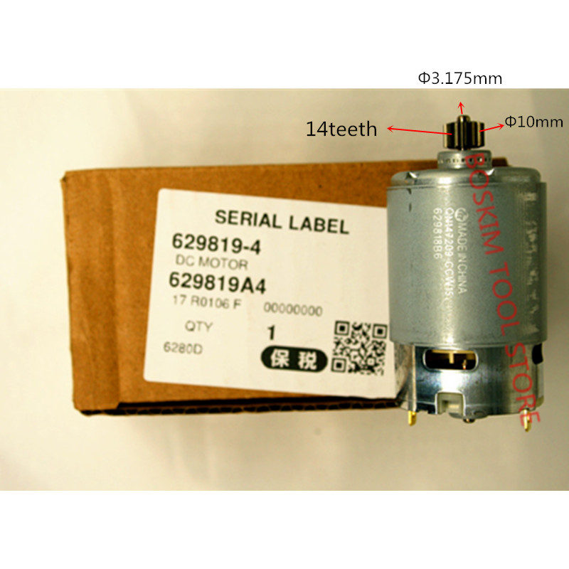 14 Teeth Motor Genuine Parts 629819-4 DC 14.4V For <font><b>MAKITA</b></font> 6280DWPE3 6280D 6280DWE 6281DWE BDF343 6281DWPE MT070 <font><b>6281D</b></font> Drill image