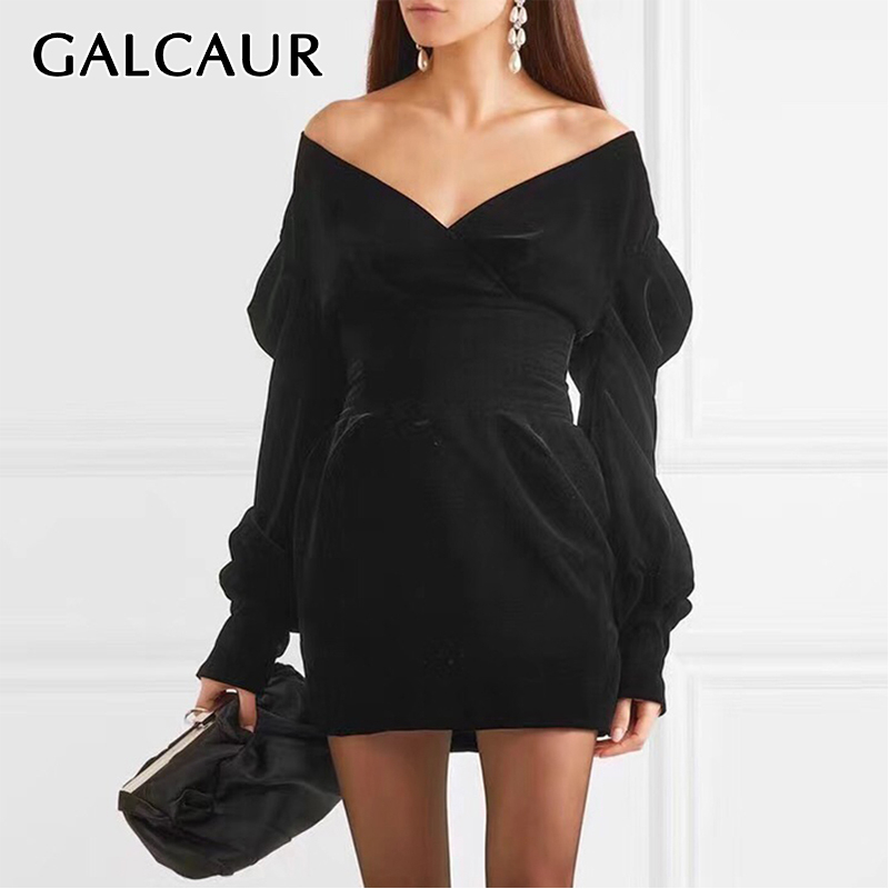 GALCAUR Sexy Party Dress For Women V Neck Puff Sleeve High Waist Large Size Mini Dresses Female 2019 Fashion Summer Clothing