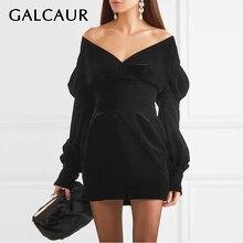 GALCAUR 여성을위한 섹시한 파티 드레스 V 목 퍼프 슬리브 높은 허리 대형 미니 드레스 여성 2020 패션 여름 의류