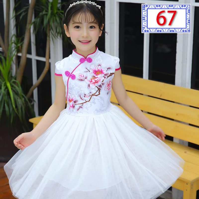 Chinese Style New Summer Girls Kids Embroidered Cheongsam Dress With Short Sleeve Baby Girl Tulle Dress Children Clothes 3-14 Ye