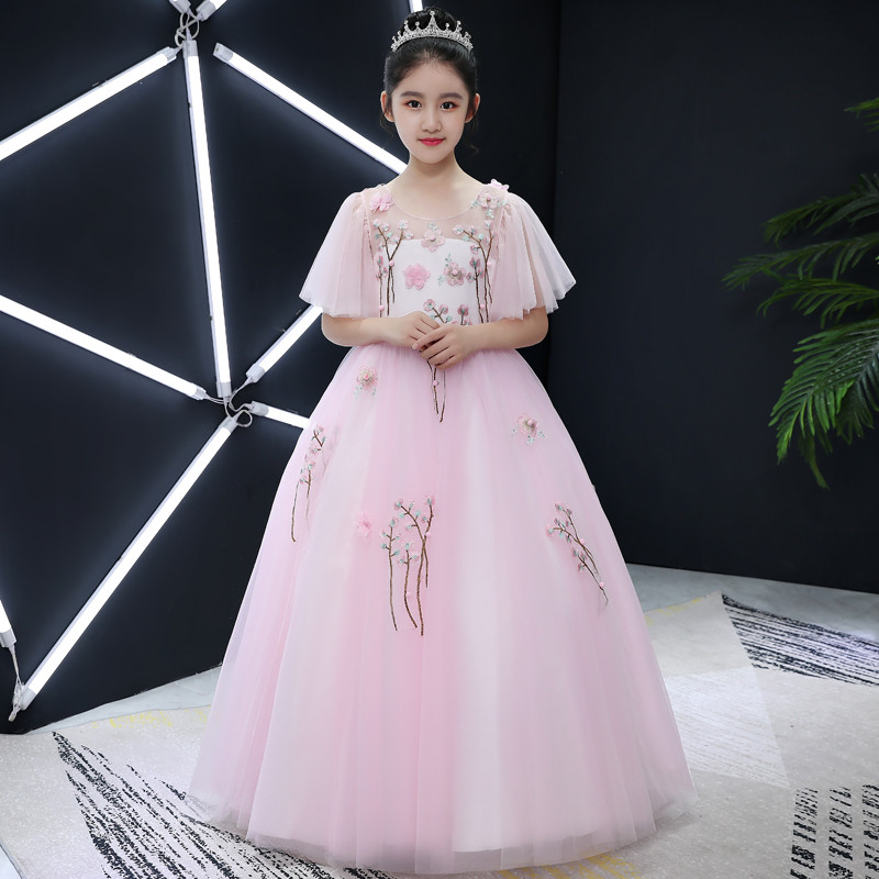 2018Summer New Elegant Children Girls pink Color Birthday Wedding Party Dress Kids Toddler Host Evening Party Costume Prom Dress2018Summer New Elegant Children Girls pink Color Birthday Wedding Party Dress Kids Toddler Host Evening Party Costume Prom Dress