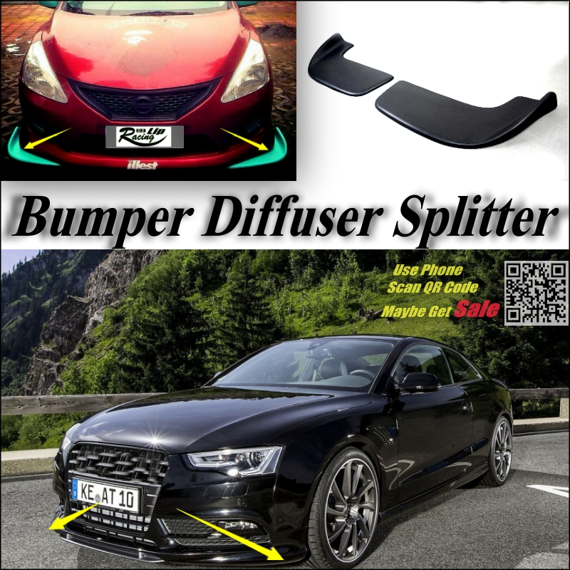 Car Splitter Diffuser Bumper Canard Lip For Audi A5 RS5 2007~2016 Tuning Body Kit / Front Deflector Flap Fin Chin Reduce Body