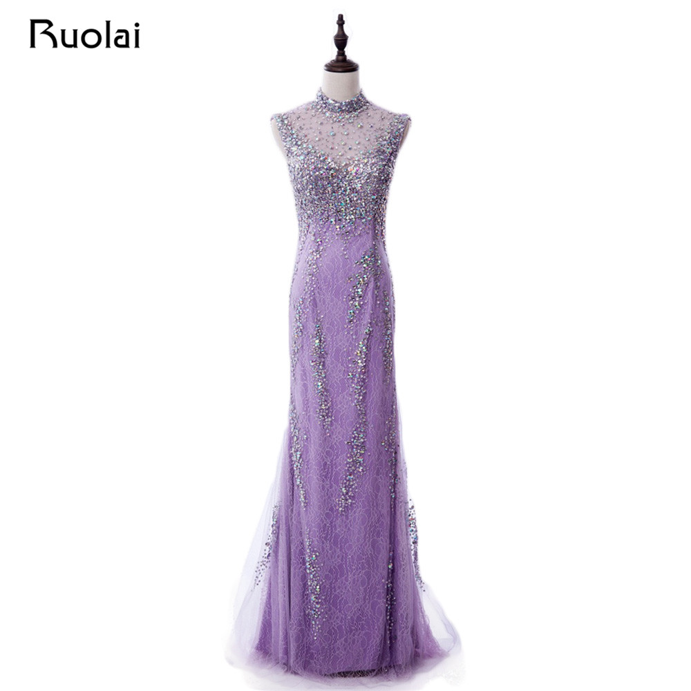 Real Made Lilac Prom   Dresses   Long High Neck Luxury Crystal Beaded Mermaid   Evening     Dresses   2019 Vestido de Fiesta Largo PD69