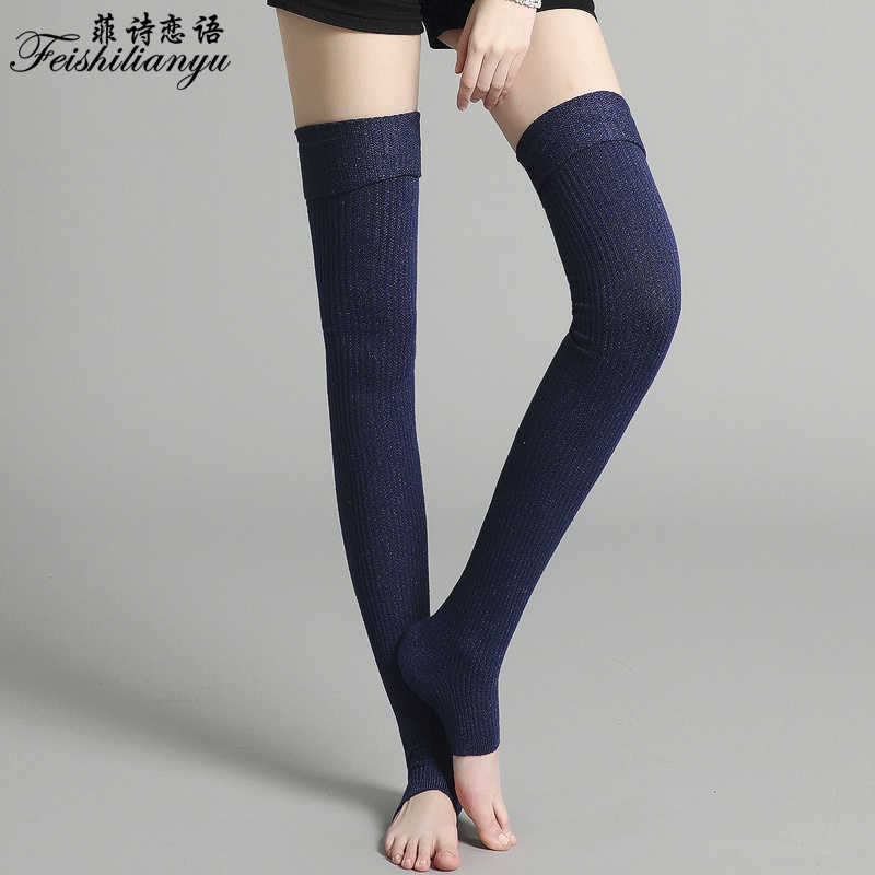 5a29c27f7 ... Feishilianyu Fashion Stockings Women Cashmere Thigh High Thick Over the  Knee Long Cotton Knitting Hosiery Ladies ...