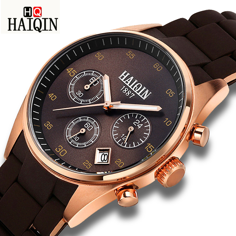 HAIQIN Fashion Gold Men's Watches sport Mliltary watch men w