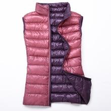 New Women 90% White Duck Down Vest Womens Ultra Light Jacket Autumn Winter Stand Collar Sleeveless Coat D187