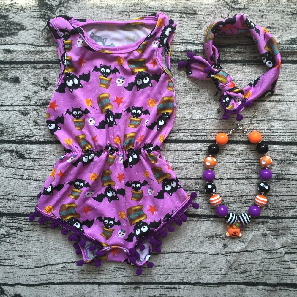 2018 top sale Baby Girl Boutique halloween outfits Romper newborn girl halloween baby outfit with headband necklace