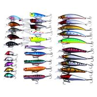 30pcs Colorful Plastic Hard Minnow Fishing Lure Artificial Simulation Baits With High carbon steel Sharp Hooks Fishing Lure Set