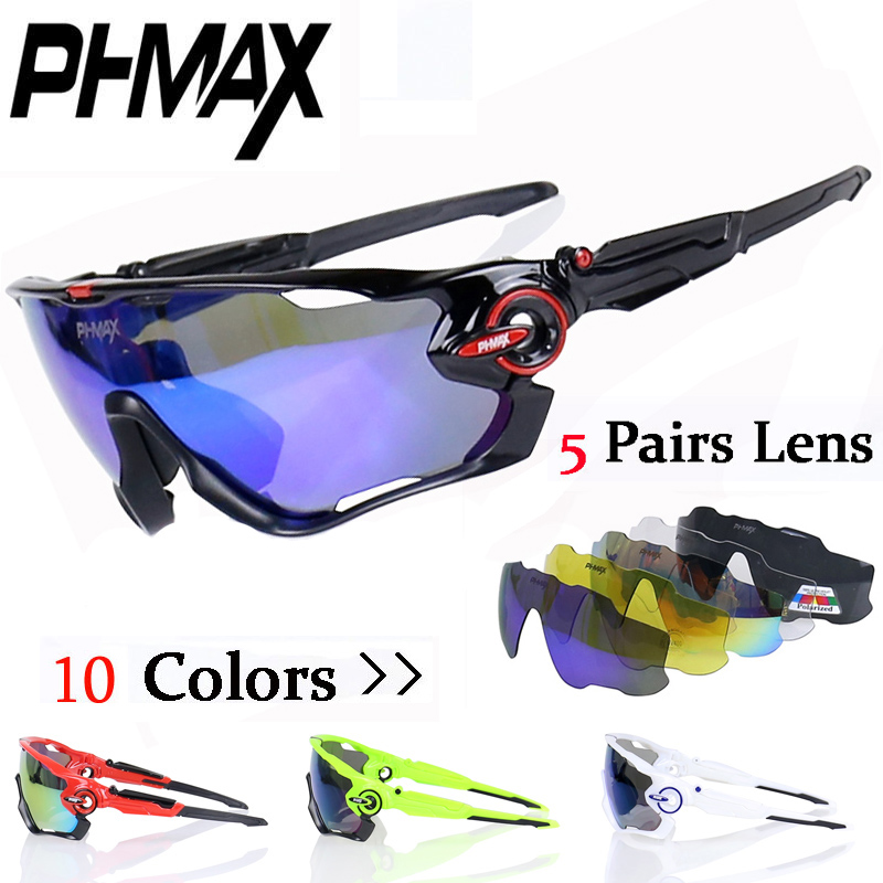 PHMAX Brand Polarized Cycling SunGlasses Mountain font b Bike b font Goggles 5 Lens Cycling Eyewear