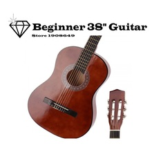 "Coffee Color Beginner 38"" Acoustic Classical Guitar Brown & Pick & Chord"