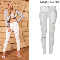 Low Waist Leather PU Pants Women Streetwear Fake Zippers White Cargo Pants Women Punk Push Up Plus Size Skinny Coated Jean Mujer
