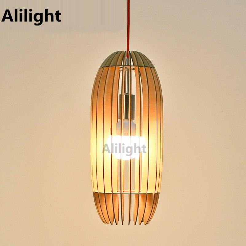 Modern Fashion Design Pendant Lights Waist Drum Shape Wooden Pendant Lamp  Home Decoration Hanging Light Indoor Lighting Fixtures