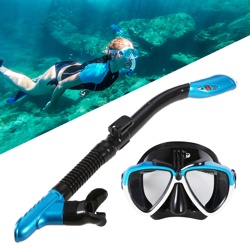 Aegend Dry Top Snorkel Set Waterproof Gear Bag Included Free-Breathing Dry Snorkel Anti-Fog Clear Vision Snorkel Mask Easy Adjustable Strap Impact Resistant Tempered Glass Watertight Diving Mask