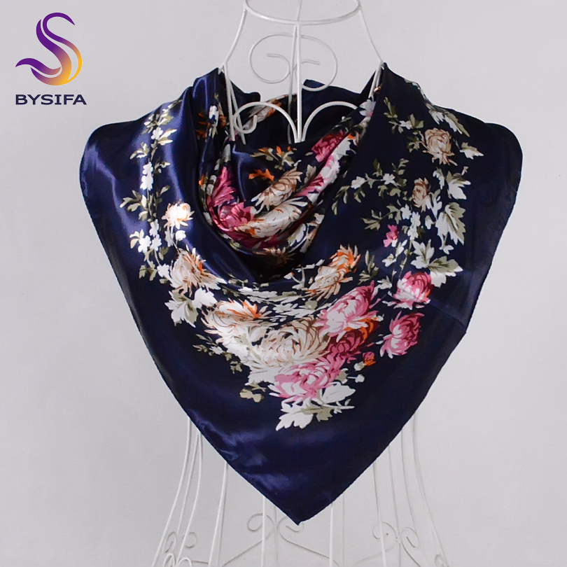 [BYSIFA] Winter Navy Blue Daisy Silk   Scarf   Shawl Echarpe Women Fashion Elegant Floral Design Square   Scarves     Wraps   Bufandas