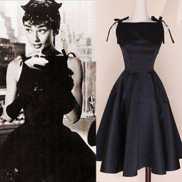 2016 hot sale spring long vintage dress audrey hepburn style retro ball gown dress pure waist