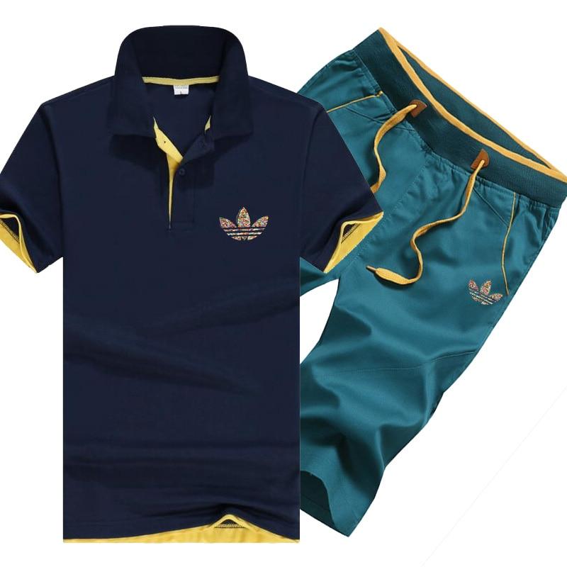 Besorgt Männer Polo Shirts 2019 Sommer Mode Trainingsanzug Männer Set Kurzarm Casaul Slim Fit Sporting Anzug Männer Masculino Tops Shorts Home
