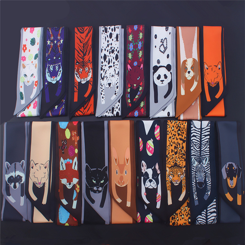 Fashion Animal Leopard Print Silk Scarf Women Handle Band Ribbons Lady Head Scarfs Small Long Skinny Scarves Female Neckerchief