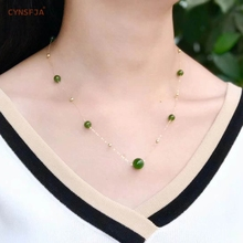 Certified Natural Hetian Jade Jasper Inlaid 18K Gold  Lucky Bead Pendant Necklace High Quality Handmade Wonderful Gifts