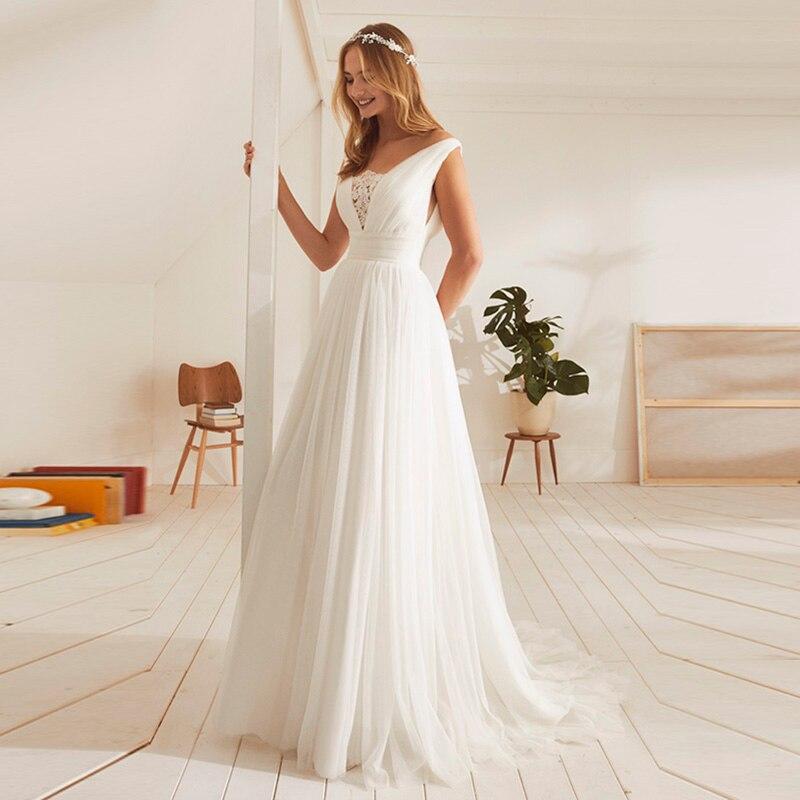 Vestido De Noiva 2019 pas cher Boho robes De mariée été V dos De l'épaule plage robe De mariée bohème robes De mariée