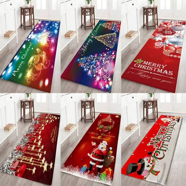 3D Christmas Carpet Xmas Decorative Mats for Home Hotel Store Non-slip Absorbent Bath Mats