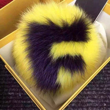 custom initial pom pom keychains handmade 15cm real fox fur ball keychains bag charm pluffy bag