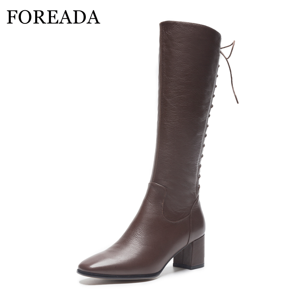 FOREADA Winter Boots Women Knee High Boots Lace Up Square Heel Riding Boots Zipper Square Toe Tall Shoes Brown Black Size 34-39 trailhead trailhead homeboy black