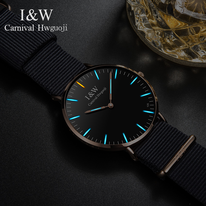 все цены на Carnival Green Tritium Light Watch Men Quartz Ultrathin Dail Tritium Luminous Gold Case Waterproof Black Nylon Strap Watches онлайн