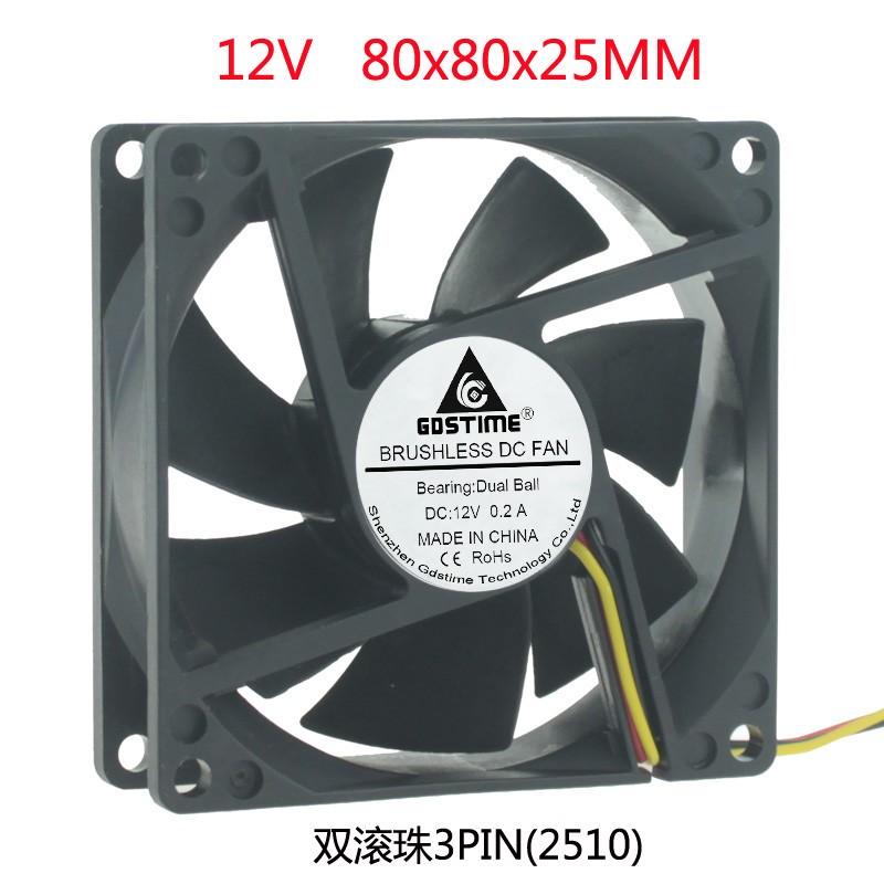 DC 12V 8CM 80X80X25 8 Cm Cm True 3pin Vehicular Speed FG Power Cooling Fan