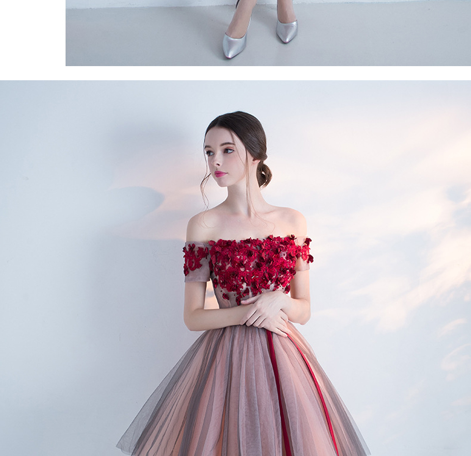 LAMYA Elegant Knee Length A Line Prom Dresses Appluqies Boat Neck Evening Party Dress With Short Sleeve Contrast Color Gown 17