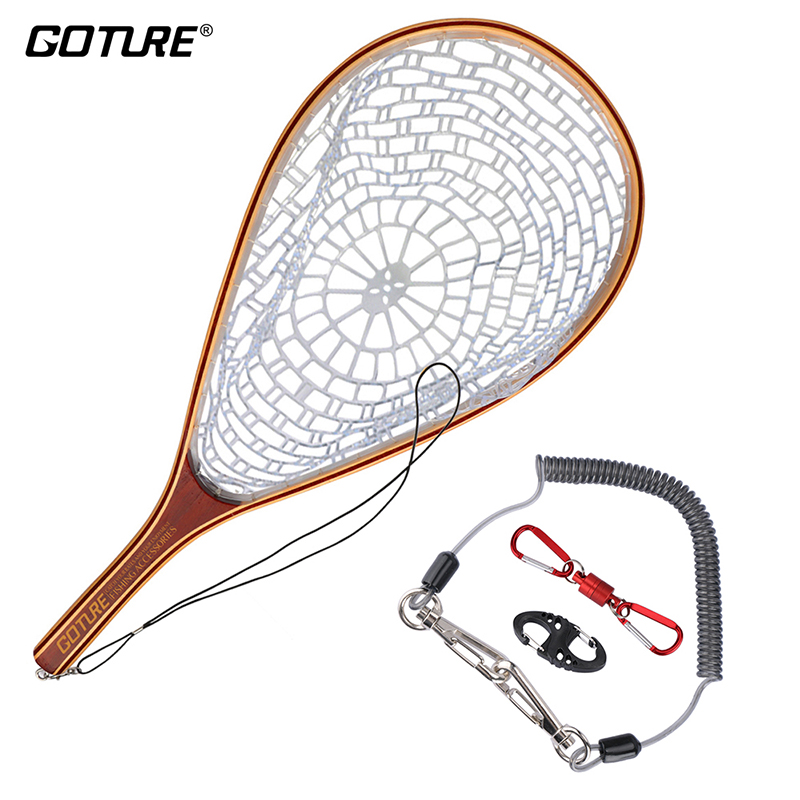 Goture Fly Fishing Trout Landing Net Set Monofilament Nylon Fishing Network with Lanyard Rope And Magnetic Buckle quality gill net h5 l95m 3layer 3 5 and 19cm mesh sink net fish trap sticky fishing net outdoor pesca reservoir fishing network