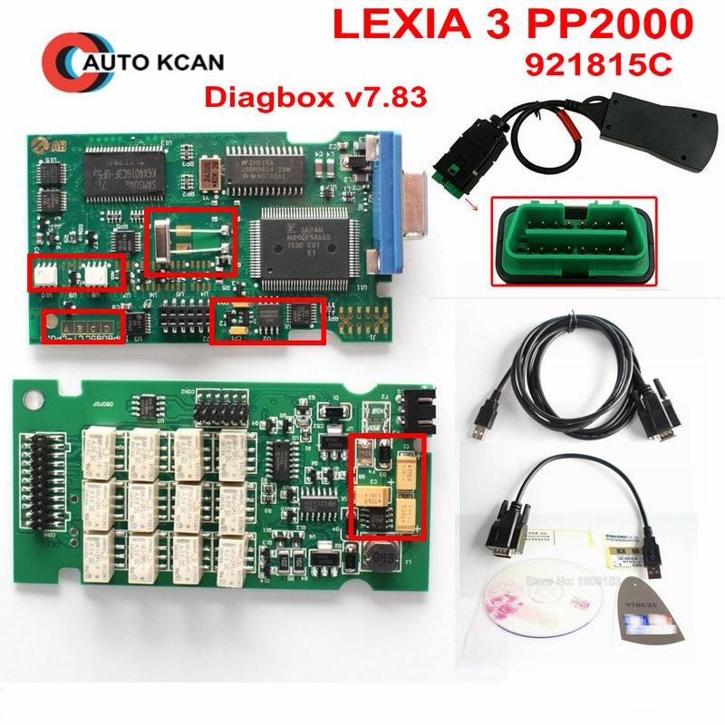 Prix pour 3 pcs Professionnel Lite Lexia3 PP2000 Diagbox V7.83 PSA XS Evolution Pour Citroen/Peugeot LEXIA-3 FW 921815C Lexia 3 DHL Livraison
