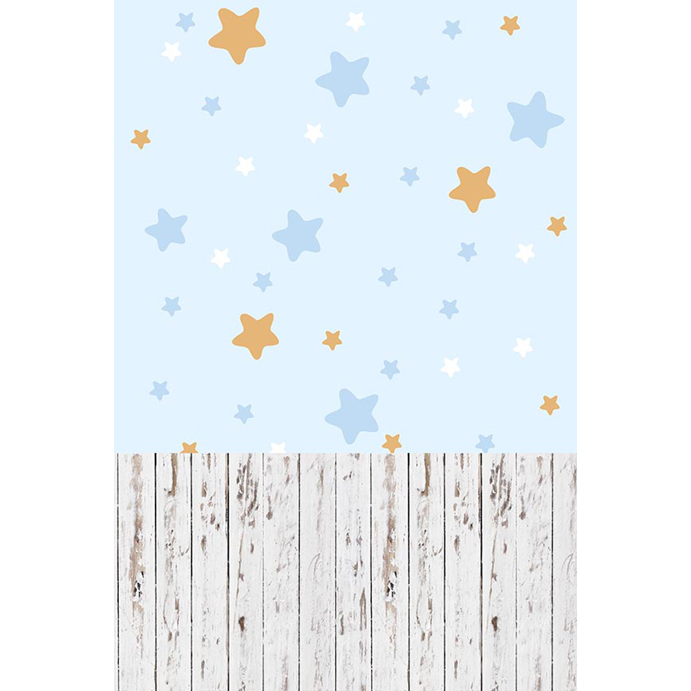 Light Blue Wall Stars <font><b>Boy</b></font> <font><b>Baby</b></font> <font><b>Shower</b></font> <font><b>Backdrop</b></font> Wood Floor Newborn Kids Photography Props Background Fondo Para Fotocall Infantil image