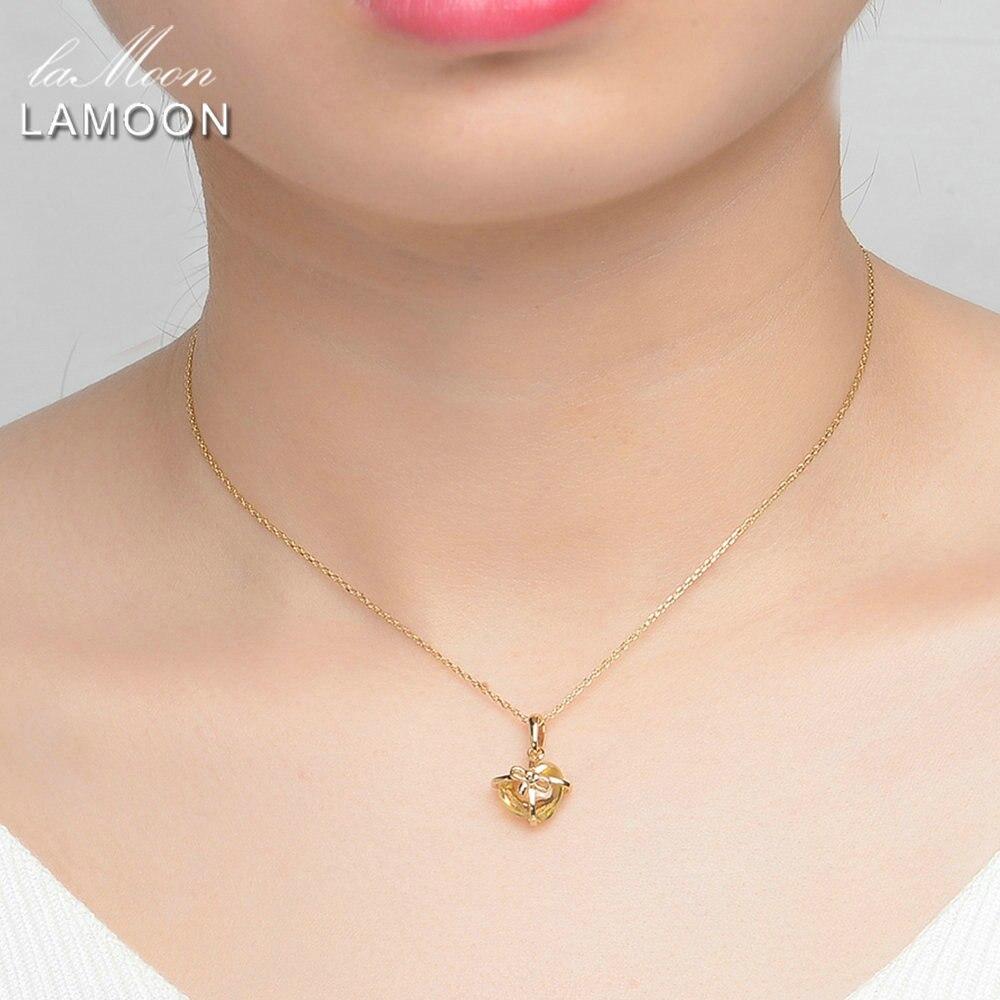 Lamoon цепи кулон Цепочки и ожерелья изделия покрытием S925 Романтический Сердце натуральный цитрин 925 серебро lmni017