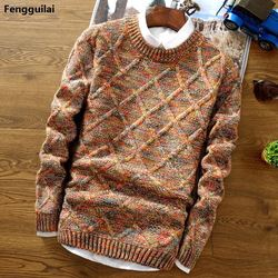 2018 New Fashion Mens Christmas Sweater Casual Slim Fit Male Clothing Long Sleeve Knitted Pullovers Winter Thick Sweater Men 3