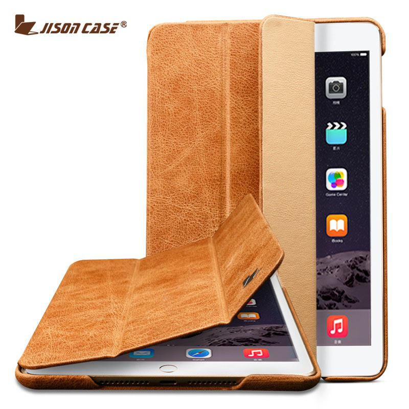 Jisoncase étui pour ipad Mini 4 étui en cuir véritable sommeil automatique réveil tablette d'affaires de luxe couverture intelligente pour ipad mini 4