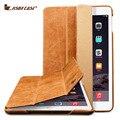 Jisoncase caso para el ipad Mini 4 genuina del cuero del soporte y Smart función del sueño / despierta de negocios de lujo cubierta de la tableta