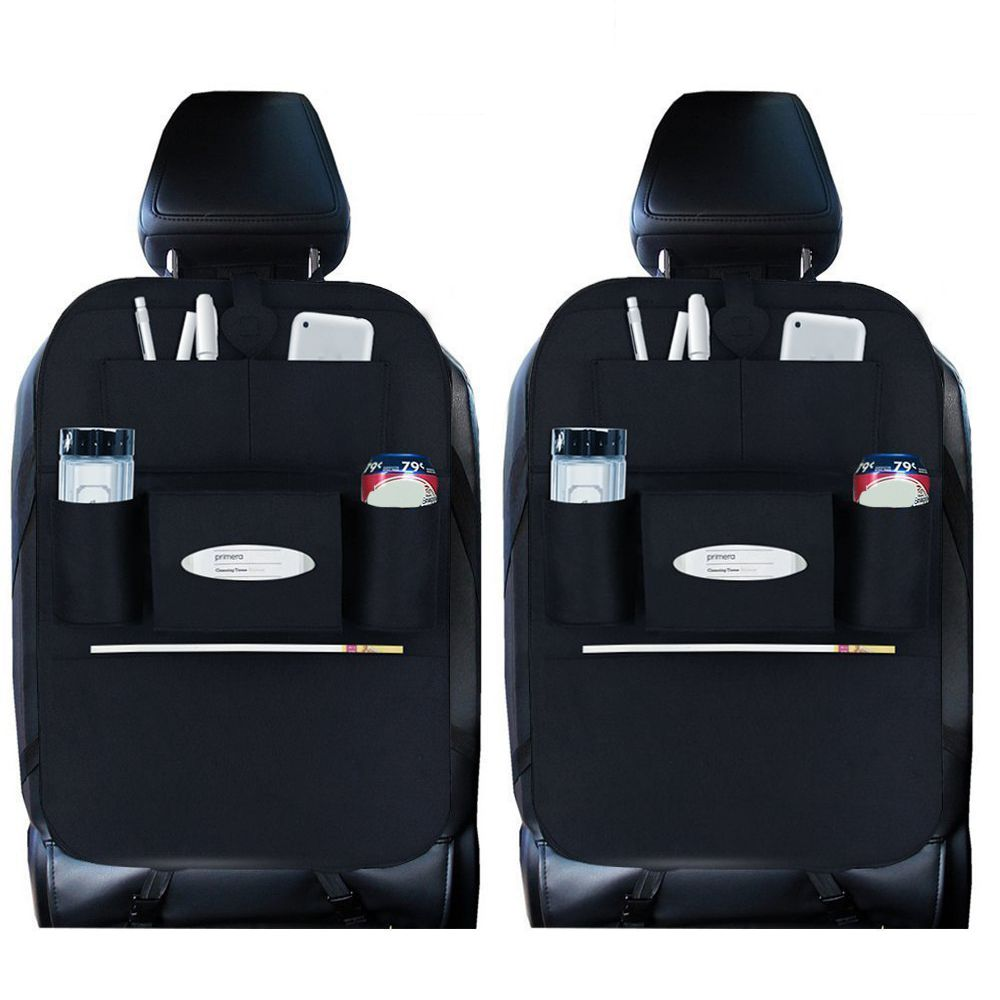 AUTO -2 Pack Back Seat Car Organizer Travel Storag for Kids with Tablet Holder With Kick Mat and Seat Cover-Black X 2