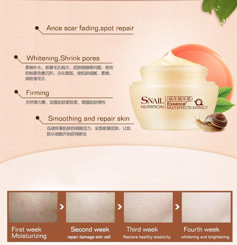 Brand Natural Snail Nutrition Essence Extract Face Cream 50g Moisturizing Whitening Oil Control Acne Treatment 6
